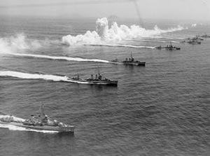 Farragut-class destroyers in fleet exercises off San Diego filmed by Movie Tone News in 1935. From left USS Alwyn (DD 355), Monaghan (DD 354) and Dale (DD 353). (US Navy photograph)